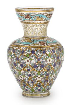 A Joseph Brocard enameled glass baluster form vase circa 1900