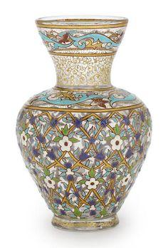 A Joseph Brocard enameled glass baluster form vase circa 1900