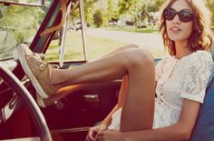 Summer is the perfect time for a road trip, clad in shorts, a lace white top and sneakers, topped off with Crusoe Jewelry...
