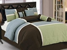 21PC Modern Comforter Curtain Sheet Set Queen Size Blue Brown Sage Bed in a Bag