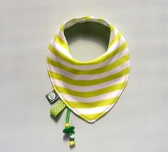 Baby bib with Teething accessories Dribble Drool Bib Bandana bib Absorbent accessory Gift for baby and toddler Lime Green Stripes
