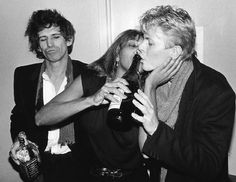 Keith Richards, Tina Turner & David Bowie, NYC 1983 (bob gruen)