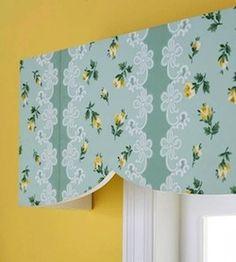 girls room window idea with wallpaper on cornice board