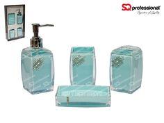 4-piece Glass Bathroom Set - BLUE: liquid soap/lotion dispenser, tumbler, toothbrush holder, soap tray #bathroom #soap #lotion #clean #toothbrush #blue #glass #diamond #sqprofessional