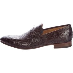 Pre-owned Gucci Alligator GG Loafers ($1,195) ❤ liked on Polyvore featuring men's fashion, men's shoes, men's loafers, brown, mens pointed toe dress shoes, mens dress loafers shoes, mens brown loafer shoes, mens brown shoes and mens alligator loafers