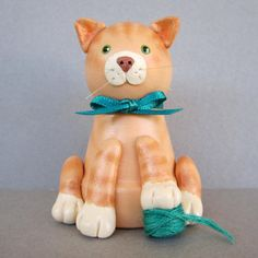 Orange Kitty Flowerpot Bell Ornament by sanquicreations on Etsy, $8.99