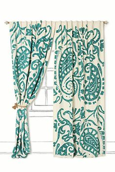 I would love to accent my teal bedroom curtains with a strip or two of this fabric!