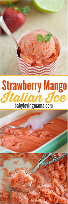dessert recipes with peanut butter, simple easy dessert recipes, peanut butter dessert recipes - Strawberry Mango Italian Ice: See how easy it is to make refreshing Italian Ice with just a blender! This kid friendly dessert features plenty of fresh fruit. Mini Desserts, Frozen Desserts, Easy Desserts, Delicious Desserts, Dessert Recipes, Yummy Food, Easy Italian Desserts, Italian Snacks, Plated Desserts