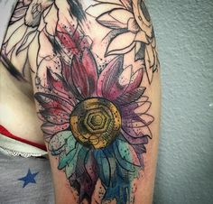 Watercolor flower tattoo by Chris Roberts at Certified Customs ...
