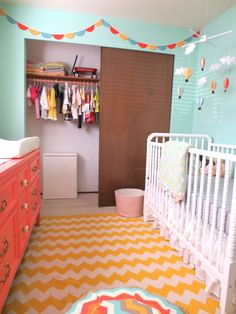 Project Nursery - Aqua and Coral Nursery Room View