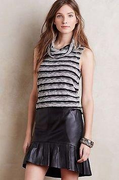 26e4cc07b8 Anthropologie Dolan Size M Grey Black Stripe Charente Cowl Neck Sleeveless  Top Black Stripes