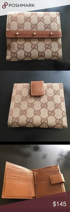 """🆕Listing Authentic Gucci French Flip Wallet A very gently used Gucci wallet with many credit card slots and compartments. There are no stains, fraying, or rips. Authentic Gucci Wallet   Approx. Measurements: 5"""" x 4.5"""" (Closed)  8"""" x 5""""  (Open) Color: Brown Specific Condition Details: Has Very Light Wear/Overall Good Condition Gucci Bags Wallets"""