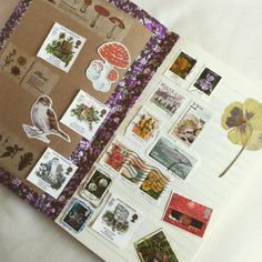 """Stamps #stamps #nature #notebook #journal #flowers #mushroom #fungi #toadstool #driedflower #robin #cat #bird #woodland #forest #mori"""