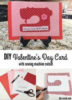 DIY Valentine's Day card with sewing machine cutout