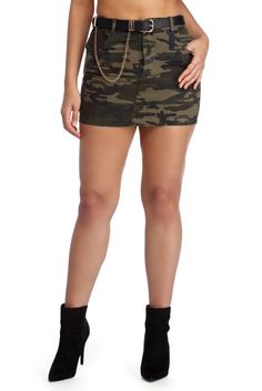 Olive Incognito Camo Skirt | WindsorCloud