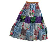 """Trendy Fashion Cotton Skirt Bohemian Clothing Patchwork Long Skirt for Womens 39"""""""