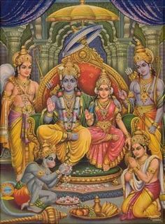 Lord Ram, Sita Ma, Laxman, Bharat , Shatrughana n Lord Hanuman in Lord Ram's Court. सु