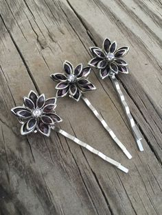 Purple with Crystal Rhinestone Flower Bobby Pins by glamMKE