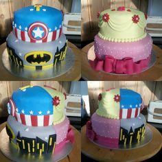 Half and half - princesses and superheros cake