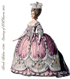 I love the fancy French ball gowns and elaborate fashions from the time of Marie Antoinette; I thought I'd post an interesting mix of. 18th Century Dress, 18th Century Costume, 18th Century Fashion, Rococo Fashion, French Fashion, Victorian Fashion, Vintage Fashion, Historical Costume, Historical Clothing