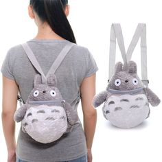 Fluffy Gray Totoro Kids Plush Anime Cartoon Backpack Organizer Bags 8*11'' New #Unbranded