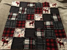 "Flannel moose 6"" square quilt."