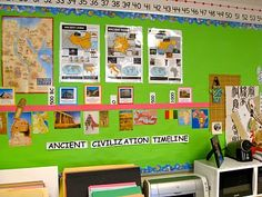 Here is our Ancient Civilization Timeline. I help them create this so they can visualize the time period of each civilization. We build it a. 7th Grade Social Studies, Social Studies Classroom, Social Studies Activities, Teaching Social Studies, Teaching Jobs, Teaching Ideas, World History Classroom, History Teachers, Teaching History