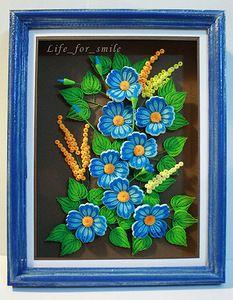 Буквально сегодня закончила оформлять в работу эти цветочки: « Синие цветы » Делала цветы сами долго, по мотивам работы Ларисы Литвиненко с сайта:…