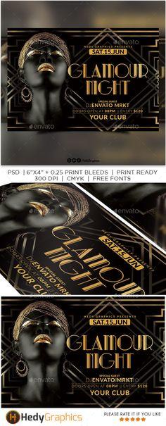 Glamour Night Flyer Design Template PSD. Download here: https://graphicriver.net/item/glamour-night-flyer/21879206?ref=ksioks