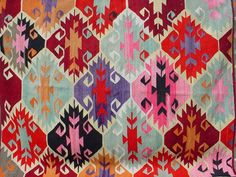 VINTAGE Turkish Kelim Rug Carpet Handwoven Kilim by sofART on Etsy