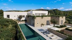 A number of leading architects and designers such as John Pawson, David Chipperfield and Marcio Kogan have unveiled residential designs for a development in Ibiza. John Pawson, Spanish Architecture, Concept Architecture, House Architecture, Villa Design, House Design, Villas, Hotel Ibiza, Glazed Walls