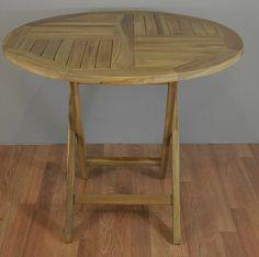 "Teak Patio Folding Table 35.5"""