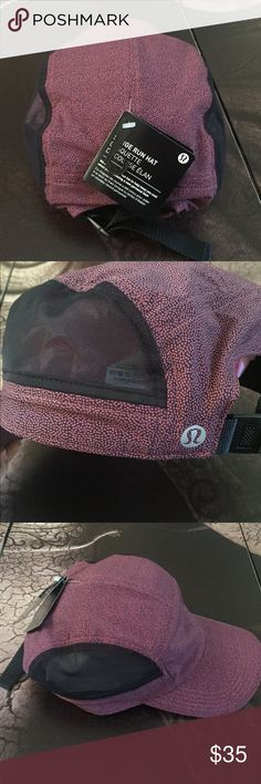 Lululemon Surge Run Hat Lululemon surge run hat in PSRN/BLK. New with tags!! Swift ultra fabric is lightweight and sweat wicking. Mesh panels help minimize airflow. Discrete internal pocket. Adjustable back closure. Burgundy/Black Unisex hat!!  No trades!!! lululemon athletica Accessories Hats