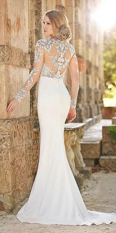 15 Gorgeous Tattoo Effect Wedding Dresses ❤ See more: http://www.weddingforward.com/tattoo-effect-wedding-dresses/ #wedding #dresses
