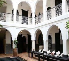 Moroccan riad. Black and white.