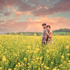 A stunning anniversary shoot in fields of yellow flowers!