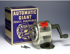 The Automatic Giant with the original box. Giant Pencil, Ecru Color, Vintage School, Pencil Sharpener, School Memories, Pointers, School Supplies, Old School, Things To Come