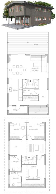 Small house plan with three bedrooms. Small home design with affordable building budget, two living areas.