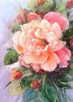 Composition d'une rose du jardin oeuvre originale : Peintures par chrispaint-flowers