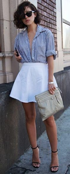 Stripe top & white mini skirt.