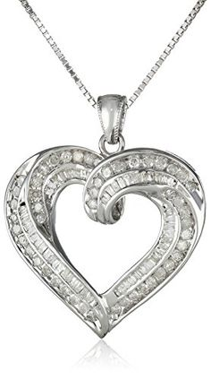 "Sterling Silver 1cttw Diamond Heart Pendant Necklace, 18"" Amazon Curated Collection http://www.amazon.com/dp/B00HEZIT9I/ref=cm_sw_r_pi_dp_MTxFub18NFDEE"