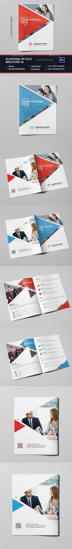 Polygonal Bi-fold Brochure Template PSD #design Download: http://graphicriver.net/item/polygonal-bifold-brochure02/14447169?ref=ksioks