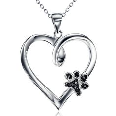 Silver Mountain 925 Sterling Silver Pet Paw Flower Print Heart Cubic Zirconia Pendant Necklace, 18""