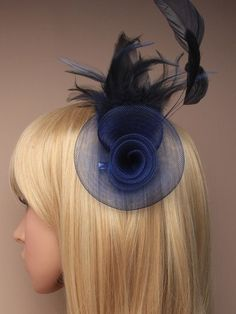 Navy Blue Fascinator with net rosette and by ClarasBoutiqueUSA, $19.00