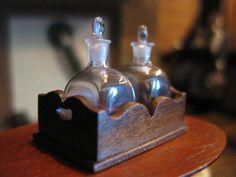 Dollhouse Artisan Miniature Ferenc Albert Glass Decanters R Gutheil Wood Stand