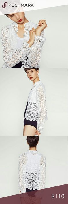 Zara Guipure White Lace Jacket This intricate white lace jacket can be a staple in your closet. It can be dressed up or down. With its very feminine chic vibe this jacket will turn heads. SIze M. Sold Out. Zara SS16  PRICE FIRM Zara Jackets & Coats