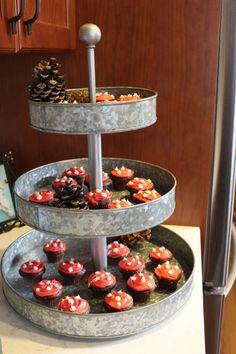 Woodland Baby Shower, Mushroom Cupcakes