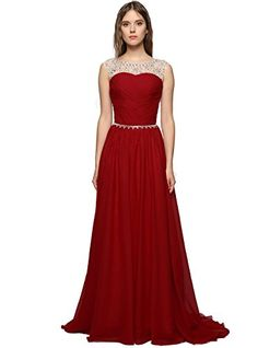 GEORGE BRIDE Exquisite Beaded Bodice Chiffon 2017 fashion evening dress  wedding dresses 6 Burgundy   Visit the image link more details. 84dac747af28