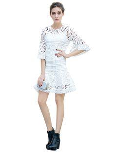 Vestido Mini De Encaje Croché Manga Belle Blanco