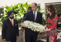 Paying tribute: The Duke and Duchess of Cambridge laid a wreath at the Taj Mahal Palace ho...